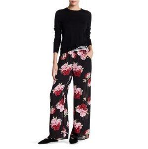 H.I.P. Floral Sheer Wide Leg Pants Palazzo Chiffon